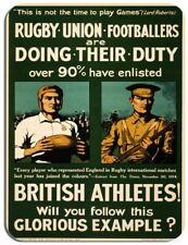Vintage Rugby Football Poster Mouse Mat. Army Recruitment Athletes Mouse Pad