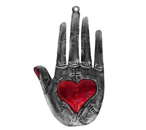 """Punched Tin Sacred Milagro Heart in Hand Hamsa Ornament, 6""""  Mexican Folk Art"""