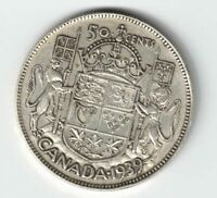 CANADA 1939 50 CENTS HALF DOLLAR KING GEORGE VI CANADIAN .800 SILVER COIN