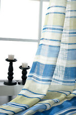 Blue&Yellow Striped Sheer Voile Curtain Net Panel Customizable Voile Curtain