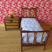 Artisan made wood(mahogany & cherry wood) & mattress ~ doll house miniature 1:12