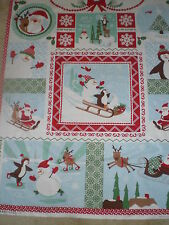 "Cotton Fabric-Moda - ""Laughing All the Way"" Quilt Panel -- many usable sections"