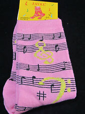 Womans Music Crew Socks PINK Silver Metallic Thread Size 9-11 Staff Clefs Notes