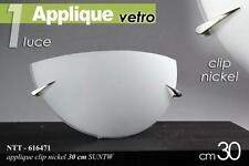 PLAFONIERA lampada bianca applique in vetro mezzaluna 1 luce 30cm clip nickel