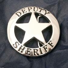 Solid Brass Deputy Sheriff  Badge Belt Buckle (Silver)