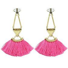 BOHO GYPSY TASSEL DANGLE DROP EARRINGS Bohemian Tribal Ethnic Jewellery Pink