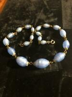 ANTIQUE STERLING SILVER VICTORIAN VIVID INTENSE BLUE GLASS BEAD NECKLACE CHOKER