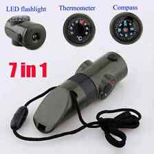 Big 7in1 Emergency Survival Gear Whistle Compass Light Thermometer Army Green FR