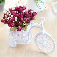 Artificial Rattan Tricycle Bike Flower Basket Vase Storage Home Wedding Decor