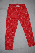 Junior Womens RED KNIT CAPRI LEGGINGS Cropped PAISLEY Bandana Look Print XS 0-1
