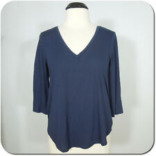AMERICAN EAGLE Juniors Navy V-Neck Top with Cross Straps Back, size L