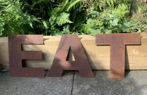 10 Inch Rust Letters EAT Rustic Sign