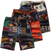 Mens Print Beach Floral 100% Cotton Shorts Loose Baggy Chino Half Trousers Pants