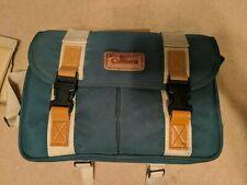 Canon Canvas Camera Bag Retro Style Green Tan Leather Dividers Film Camera