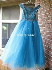 Tiffany Princess 13458 Turquoise Girls Winning Pageant Gown Dress sz 8