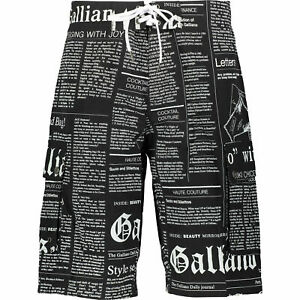 JOHN GALLIANO Black Gazette Newspaper Patterned Swim Shorts. Size UK 34 / 36