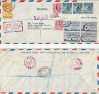 US 1948 REGISTERED AIR MAIL FLOWN COVER NEW YORK TO BOURNEMOUTH ENGLAND