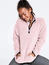 Victoria Secret Soft Baby Pink Sherpa Quarter Zip Boyfriend Pullover Size M