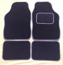 UNIVERSAL NON SLIP CAR FLOOR MATS- BLACK WITH GREY TRIM IDEAL FOR 90% OF VEHICLE
