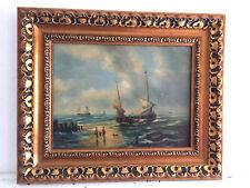 tableau ancien huile sur toile inconnu (début XXe-s) marine