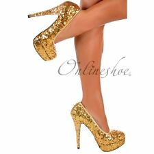 LADIES SPARKLY GOLD SEQUIN STILETTO HEELS PLATFORM COURT SHOE WEDDING PARTY 3-8
