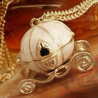 Vintage Magical Cinderella's Pumpkin Carriage Long Necklace Can Open WG