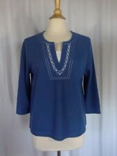 SIZE PM - NEW $19.97 HASTING & SMITH Petite Blue 3/4 Rib Knit Embroidered Top