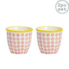 Flower Plant Pot Ceramic Porcelain Indoor Outdoor Garden - Red / Yellow Swirl x2