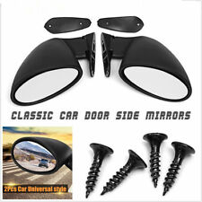 Pair Universal Classic Car Door Side View Mirror & Gaskets Vintage Matte Black