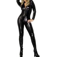 Fever Miss Whiplash Vinyl Suit Black Catsuit Catwoman Fancy Dress Costume    SP