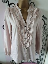 Size XS 6 Zara Pink Satin V-Neck Ruffle Shirt Slightly Sheer Blouse Long Sleeve