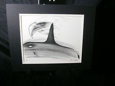 John Davis Alaska Art Le Print 9/30 American Bald Eagle Whale Black White Mat