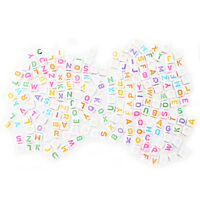 "Lot 200 letter of the alphabet plastic Cube loose beads 0.24"" W7N2"