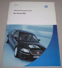 VW Passat B5 Typ 3B W8 Zylinder Motor  SSP 261 Selbststudienprogramm 08/2001