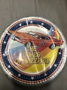 """Dukes Of Hazzard General Lee 1981 Birthday 7"""" Party Plates Unopened Pack 8 S6"""