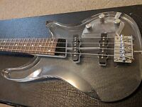 Galveston Clear Acrylic Body Electric Bass Guitar Lucite Ampeg Dan Armstrong