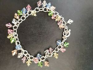 """925 Sterling Silver Toggle Bracelet With Bicone Pastel Rhinestones crystals? 8"""""""