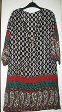 """Robe """"liquette"""" à manches longues- imprimé cachemire- rouge vert et noir - 40/42"""