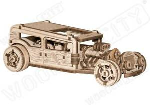 3D Puzzle Kinetic Car Model HOT ROD Engineering STEM Fun Gift by Wooden City
