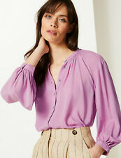 BNWT M&S Collection Mauve Blouson Sleeve Button Up Blouse Collarless Top