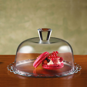 Cake and Dessert Plate Stand with Glass Dome Lid Cupcake Display Serving Platter