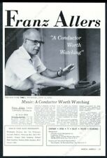 1962 Franz Allers photo conductor conducting gig booking vintage print ad