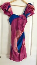 ILLIONARE WOMANS TAKE DOWN FROCK LINED PRINTED  SILK PARTY WORK NWT RRP 295 SZ S