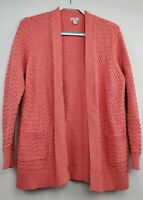 LL Bean Cable Knit Cotton Sweater Open Cardigan Size XL Extra Large Salmon Pink