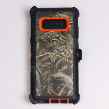 For Samsung Galaxy Note 8 Orange/Grass Camo Defender Case (Clip fits Otterbox)
