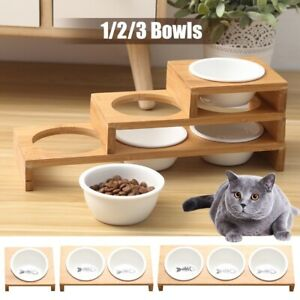 Bamboo Elevated Raised Stand Pet Dog Cat Feeder Ceramic Bowls Food Water Dishes
