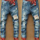 Fashion Men's Ripped Skinny Biker Jeans Destroyed Frayed Slim Fit Denim Pants