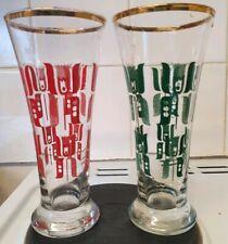 Vintage highball glasses retro tulip pattern with gold rim set of 2