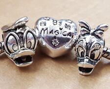 Disney Daisy Donald Duck Cartoon Be Magical Crystal Heart European Beads Charms