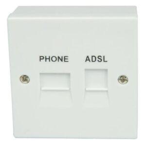 ADSL 2  BROADBAND FACEPLATE FILTER SPLITTER FOR BT TYPE mini  SOCKET+BACK  BOX